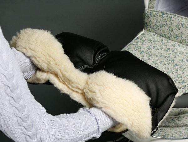 Муфта для рук на коляску ЧЕРНАЯ ЭКОКОЖА U.D.LINDEN BLACK MERINO