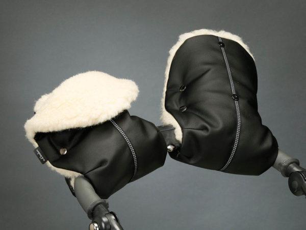 Муфта для рук черная экокожа U.D.LINDEN «BLACK MERINO DOUBLE»
