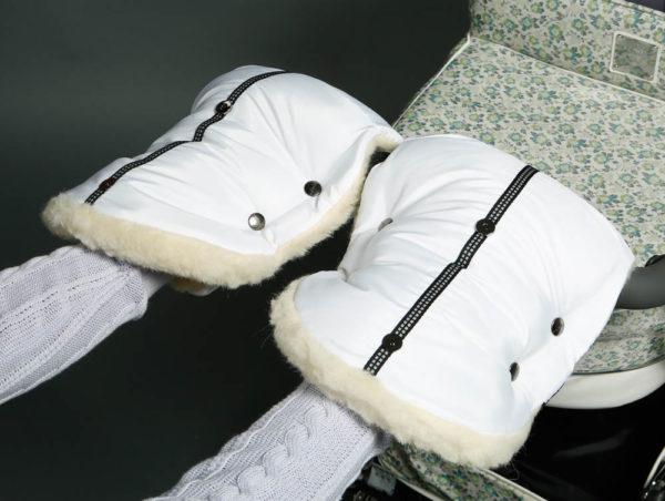 Муфта для рук на коляску белая U.D.LINDEN «POLAR BEAR DOUBLE»