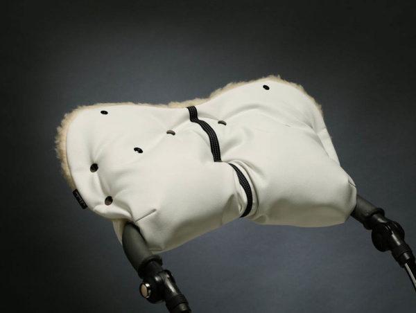 Муфта для рук на коляску БЕЛАЯ ЭКОКОЖА U.D.LINDEN «WHITE MERINO»